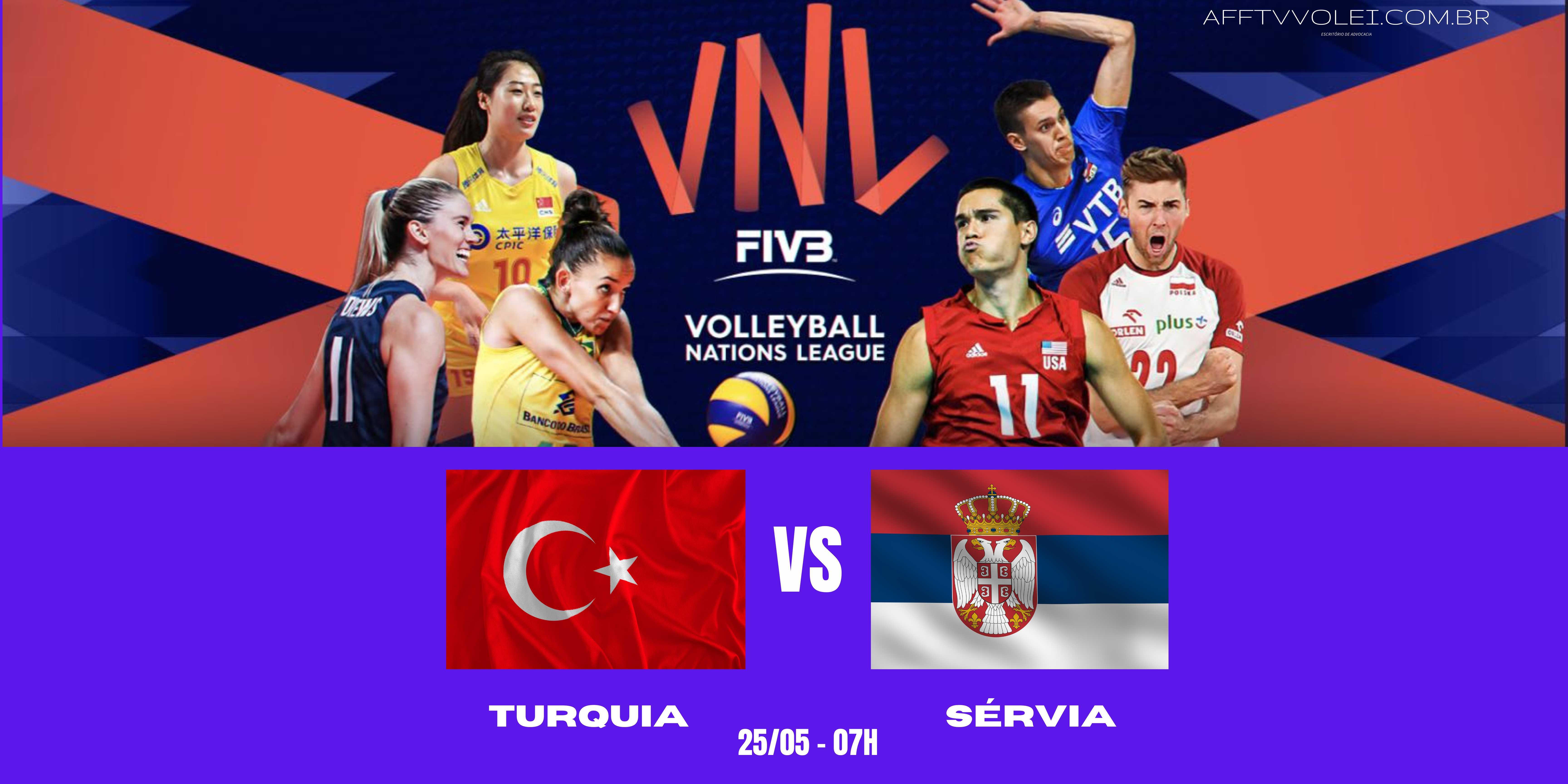 Turquia vs Sérvia – Liga das Nações Vôlei Feminino – 25/05/2021