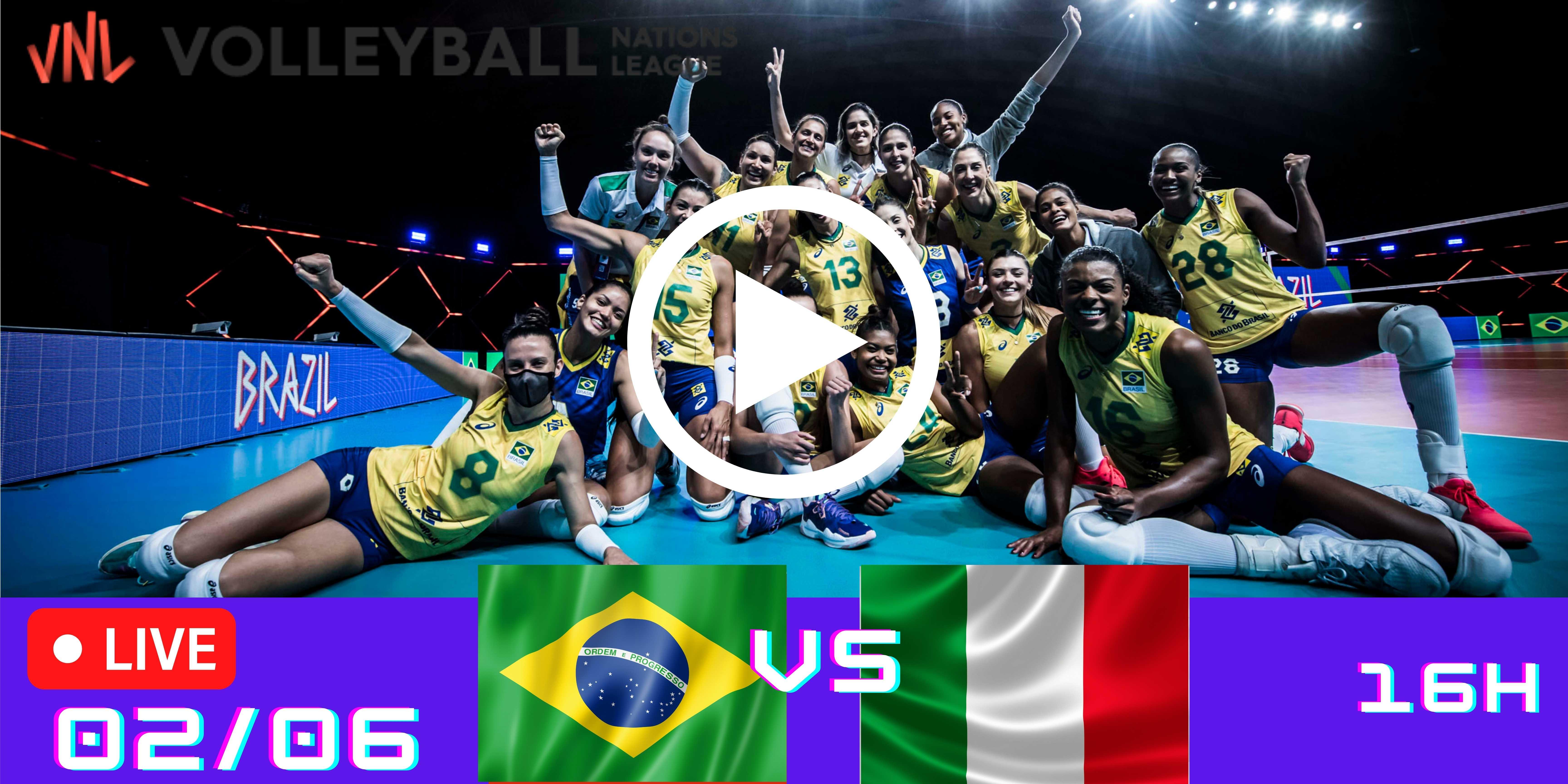 Resultado: Brasil 3 vs 1 Itália – Liga das Nações – 02/06 – 16h