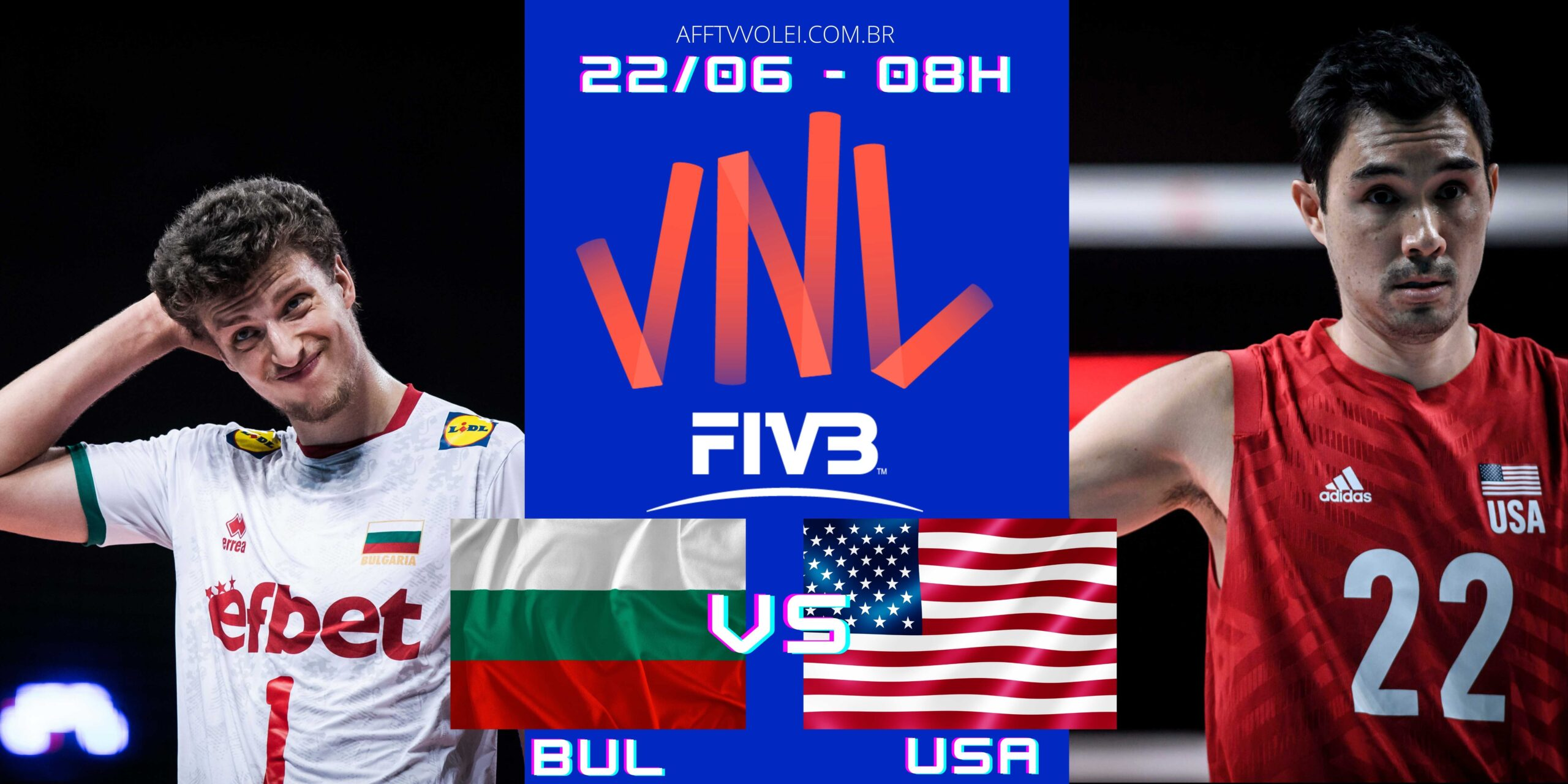 Bulgária 0 vs 3 USA – Liga das Nações – 22/06/2021
