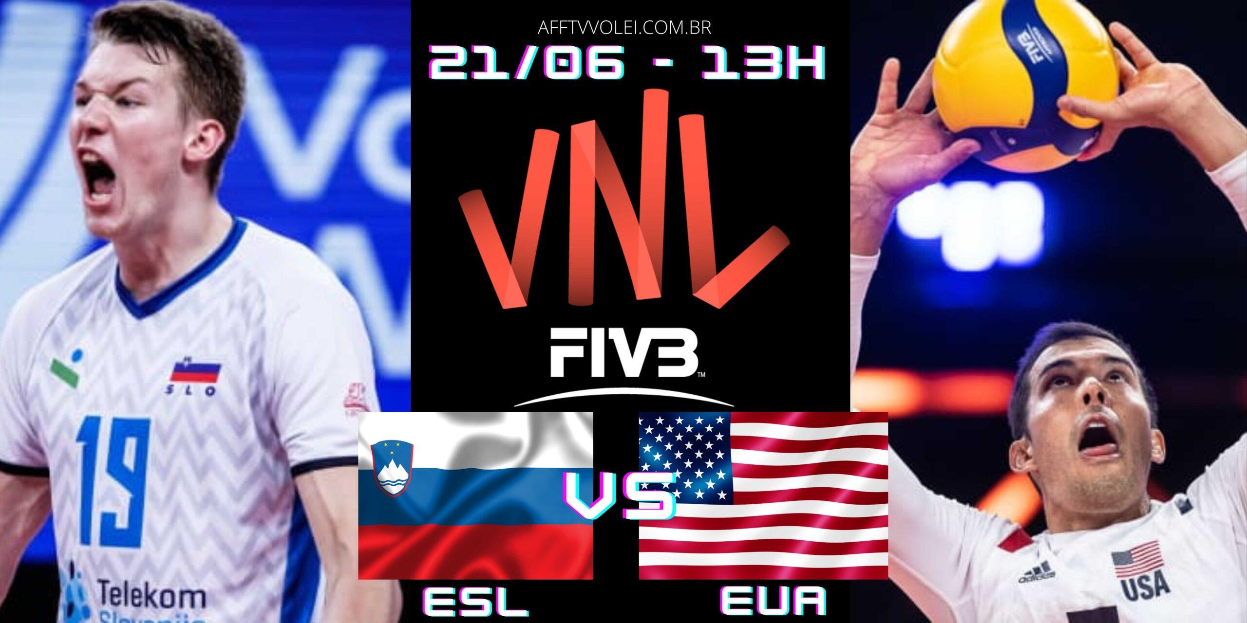 Eslovênia 3 vs 2 EUA – Liga das Nações – 21/06/2021