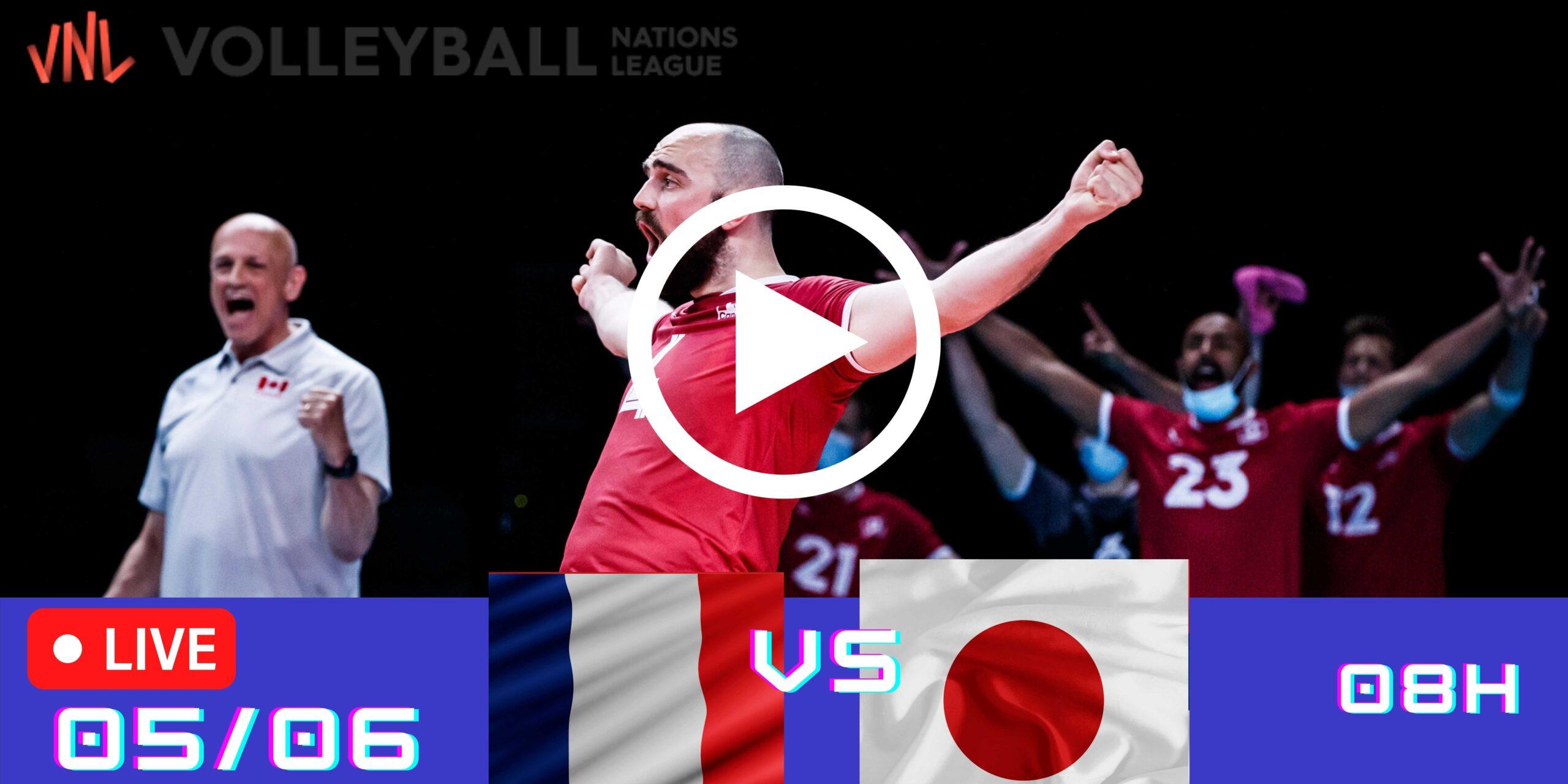 Resultado: França 3 vs 2 Japão – Liga das Nações – 05/06 – 08h