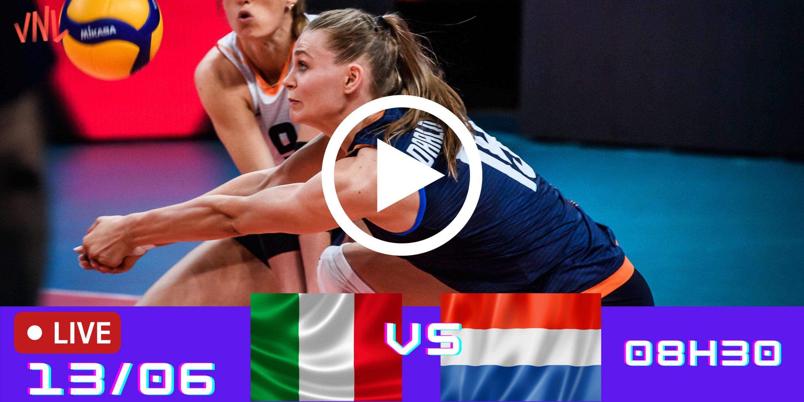 Itália 2 vs 3 Holanda – Liga das Nações Feminina – 13/06/2021