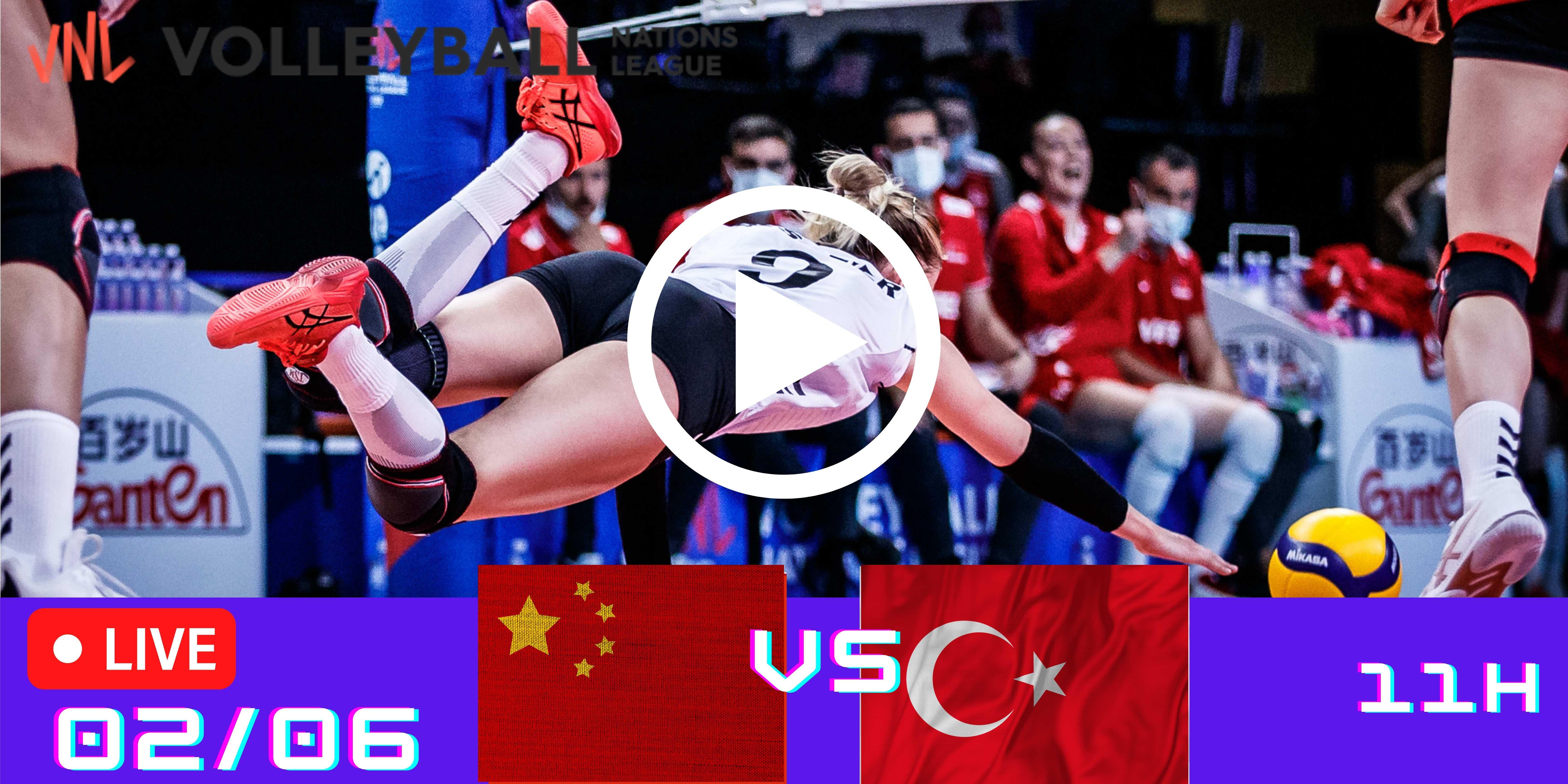 Resultado: China 0 vs 3 Turquia – Liga das Nações – 02/06 – 11h