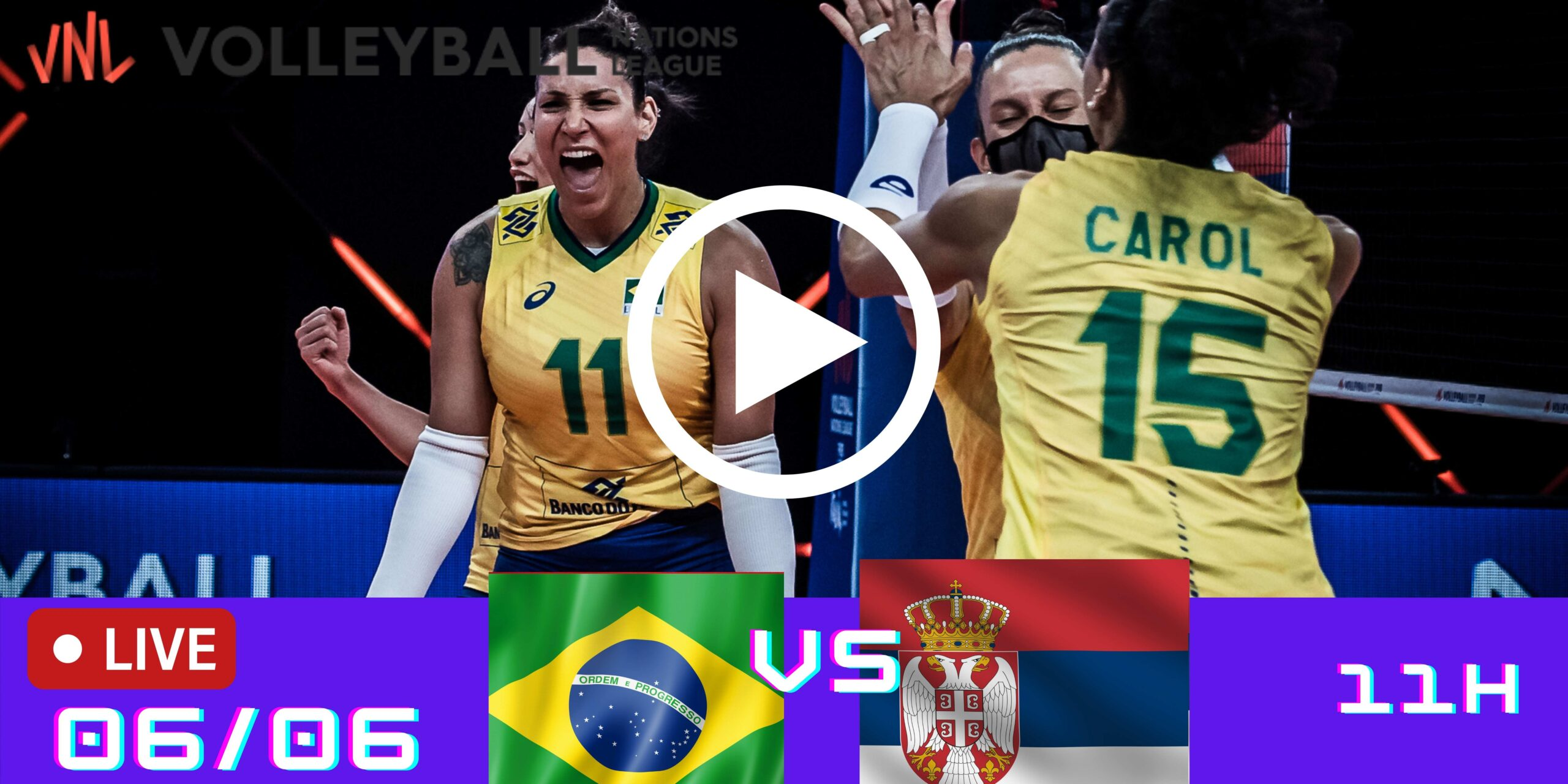 Gravado: Brasil 3 vs 0 Sérvia – Liga das Nações – 06/06 – 11h