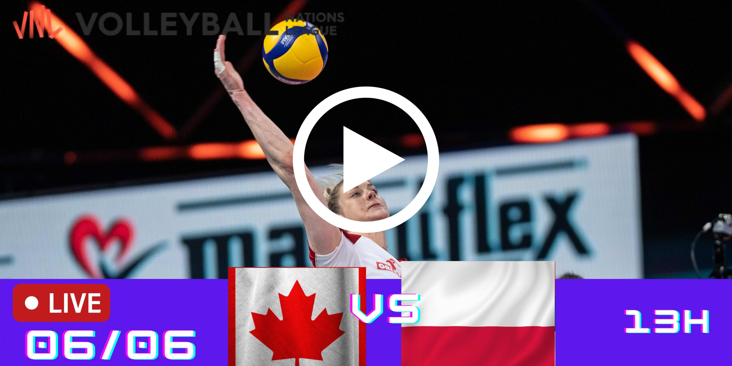 Resultado: Canadá 2 vs 3 Polônia – Liga das Nações – 06/06 – 13h