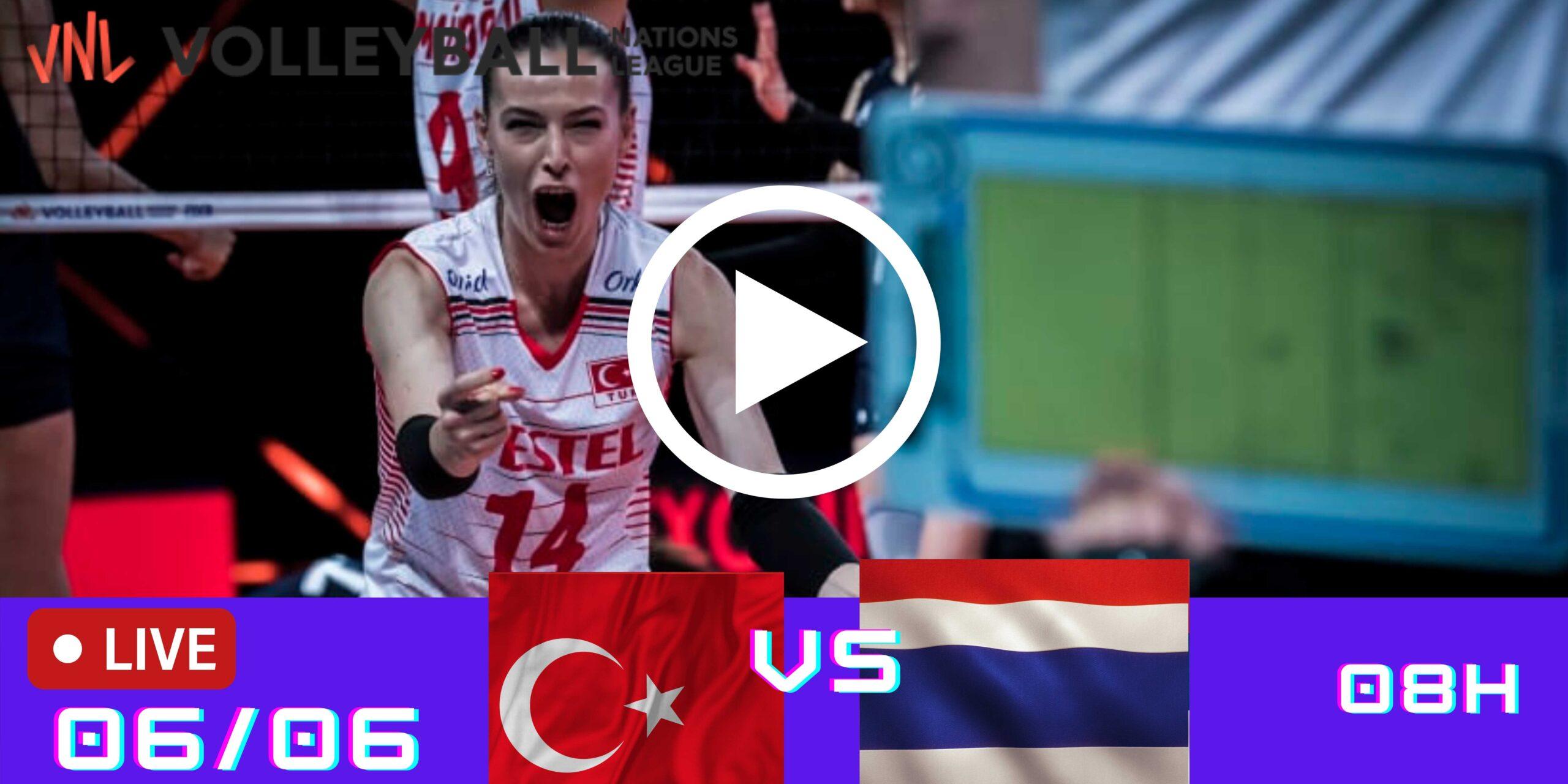 Resultado: Turquia 3 vs 1 Tailândia – Liga das Nações – 06/06 – 08h